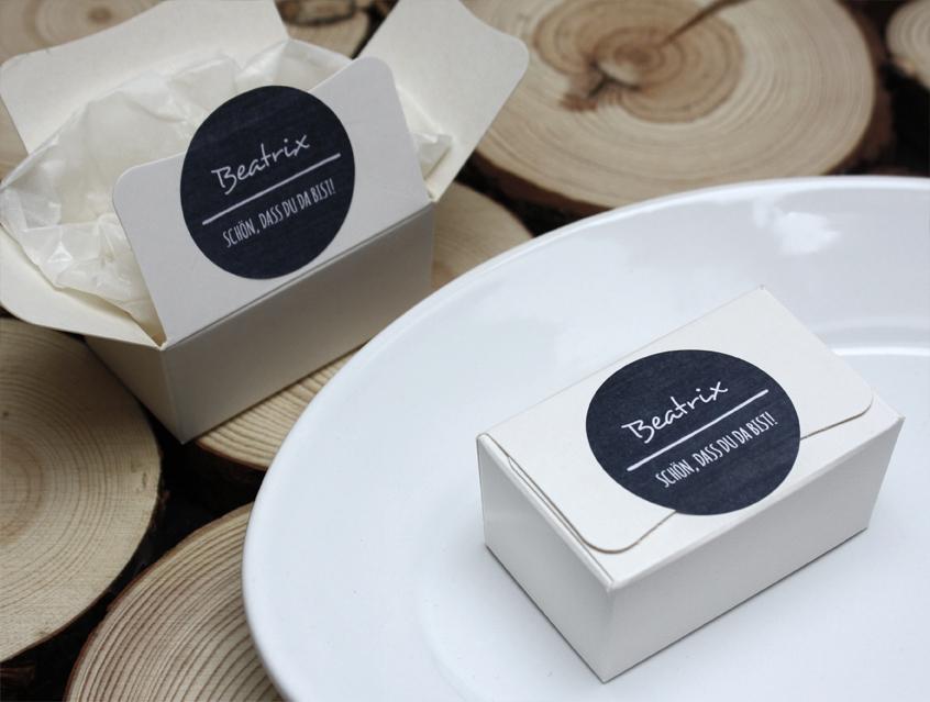 Schön 7139   Tischkarte Tischkärtchen Minibox Box Schachtel Gastgeschenk Hochzeit  Mit Gästenamen Auf Aufklerber Gäste