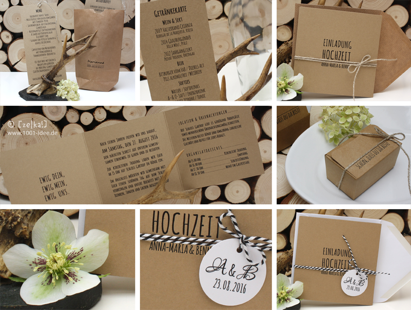 7139   Amatic Design Hochzeitspapeterie Hochzeitskarten Impressionen  Hochzeit Natur Naturkarton Kraft Kraftpapier Kraft Karton ...