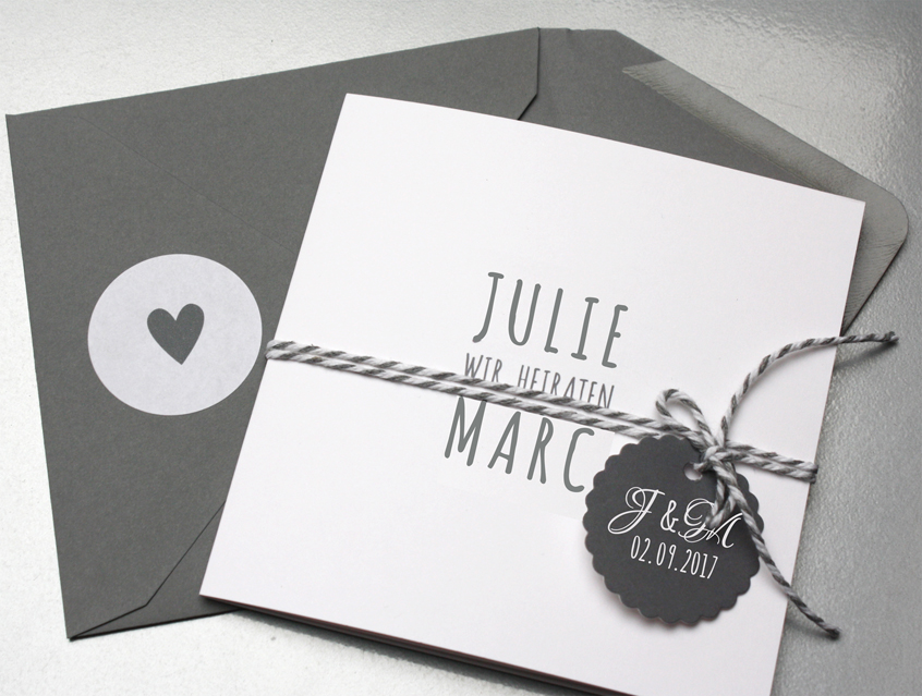 7139   Einladung Hochzeit Hochzeitseinladung Hochzeitskarte Karte Papeterie  Hochzeitspapeterie Weiss Weiß Grau Edel Anthrazit