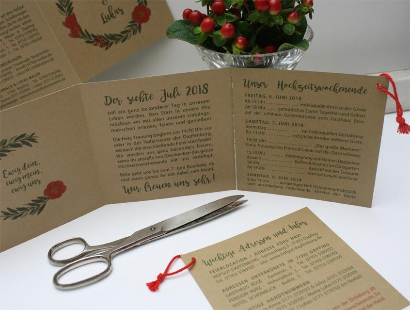Hochzeitseinladung 6 seitig
